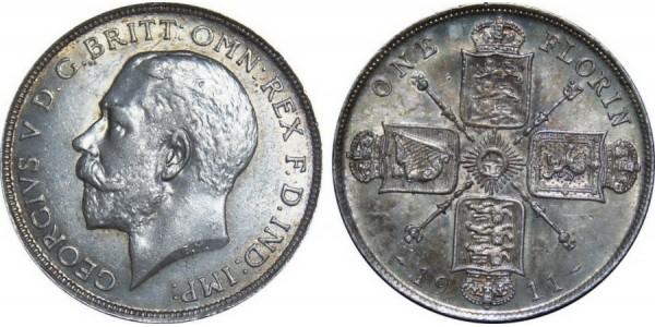 George V. Silver Florin. 1911