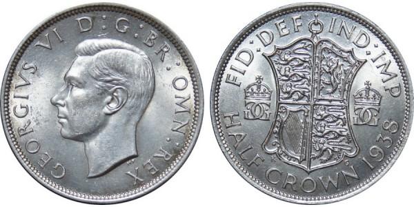George VI, Silver Half-crown, 1938