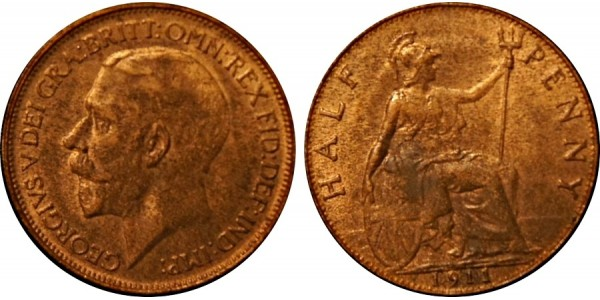 George V, Bronze Halfpenny, 1911