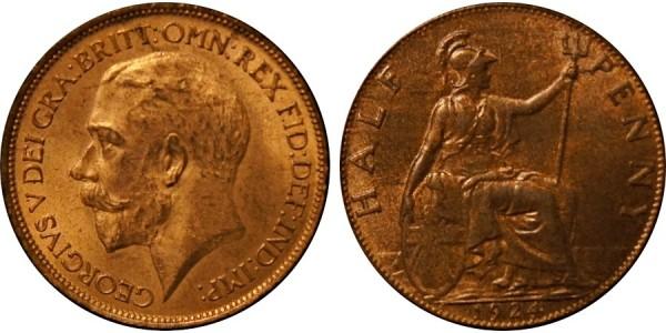 George V, Bronze Halfpenny, 1924