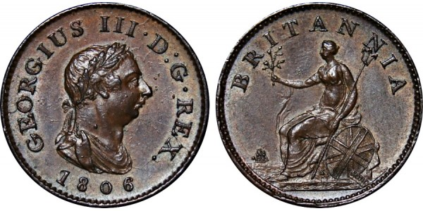 George III, Copper Farthing, 1806