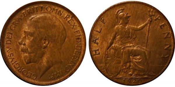 George V, Bronze Halfpenny, 1920
