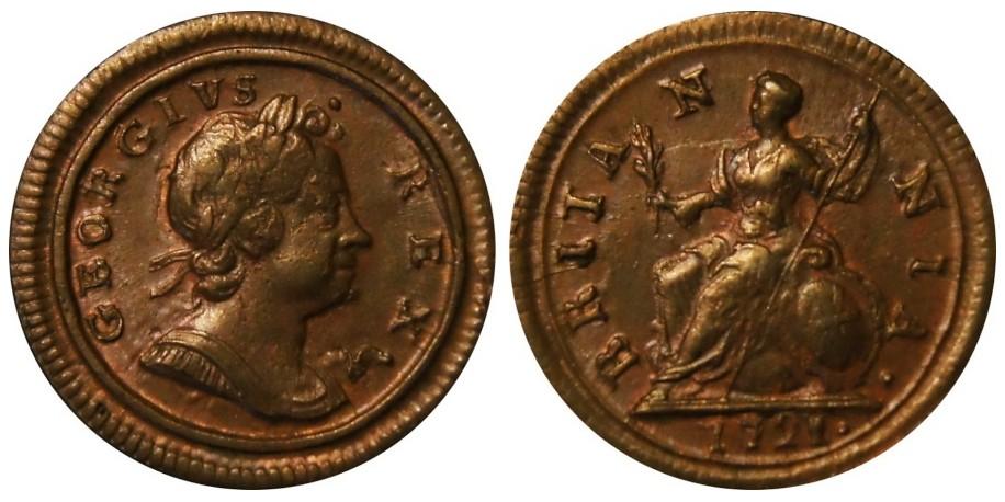 George I, Copper Farthing, 1721