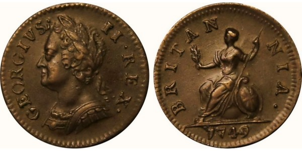 George II, Copper Farthing, 1749