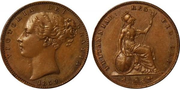 Victoria, Bronze Farthing, 1859