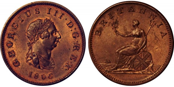 George III, Copper Halfpenny, 1806.