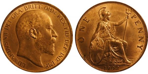 Edward VII, Bronze Penny, 1902 . LT