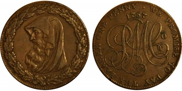 ANGLESEY. Penny. D&H 40. 1787. Very Rare.