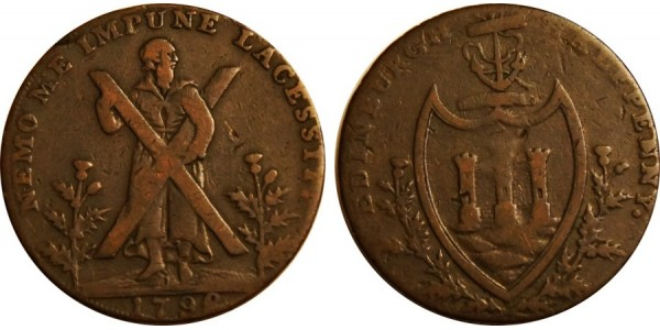 Lothian. Hutchinson's Counterfeit Halfpenny. 1792 DH 47