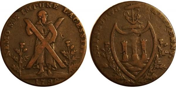 Lothian. Hutchinson's Counterfeit Halfpenny. 1792 DH 47