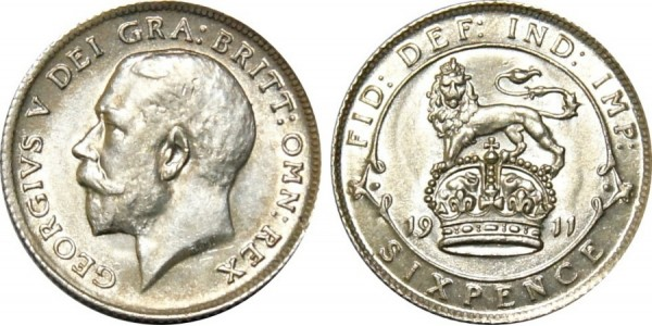 George V, Silver Sixpence, 1911