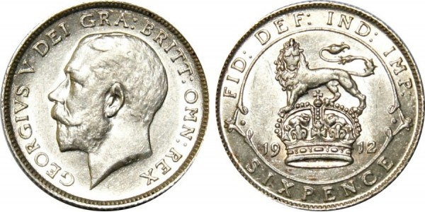 George V, Silver Sixpence, 1912