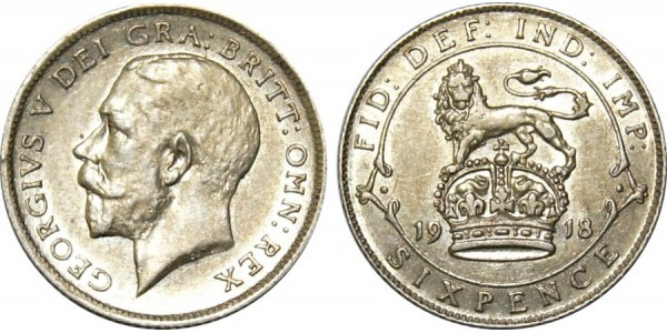 George V, Silver Sixpence, 1916