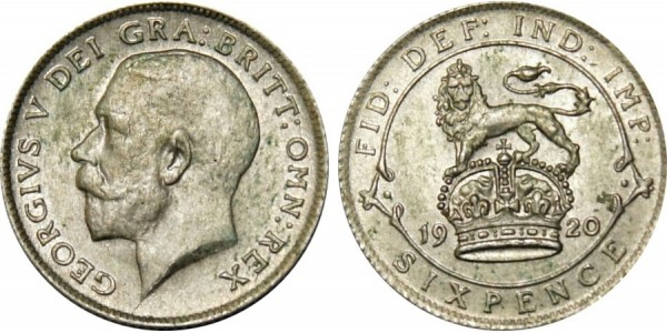 George V, Silver Sixpence, 1918