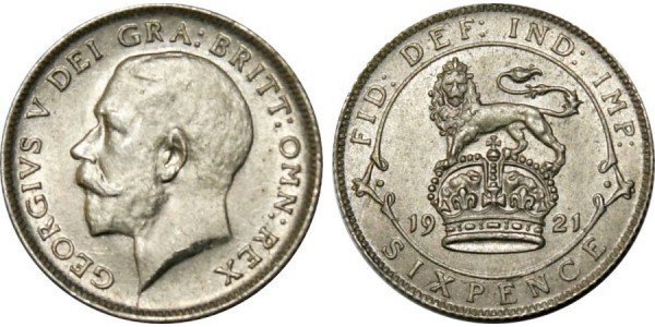 George V, Silver Sixpence, 1920