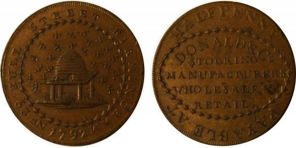 Warwickshire. Donald & Co Halfpenny.  DH 123