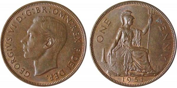 George VI, Bronze Penny, 1951.