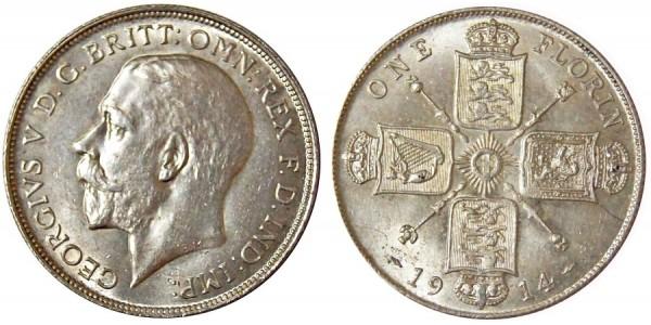 George V. Silver Florin. 1914