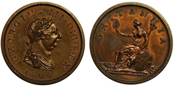 George III, Copper Penny, 1806.