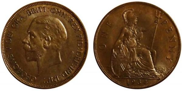 George V, Bronze Penny, 1934