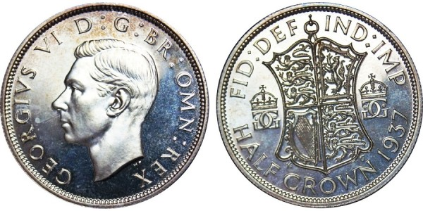 George VI. Silver Proof Half-crown, 1937