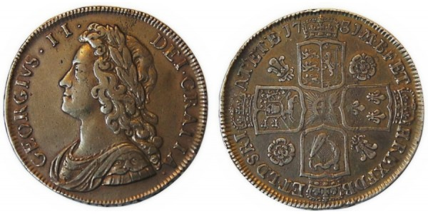 George II, Silver Half-crown, 1731. QVINTO