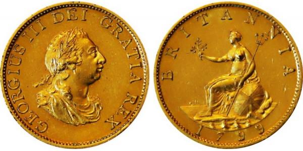 George III, Pattern (Gilt) Halfpenny, 1799.