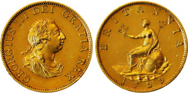 George III, Pattern (Gilt) Halfpenny, 1799.