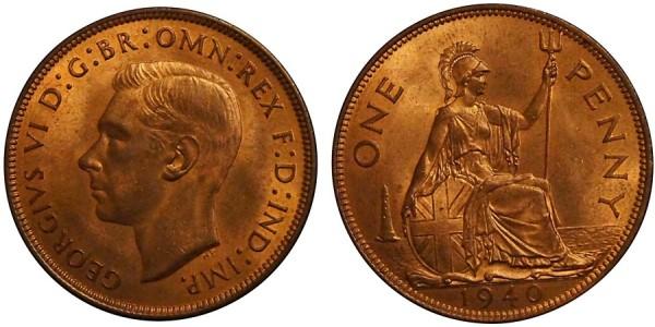 George VI, Bronze Penny, 1940