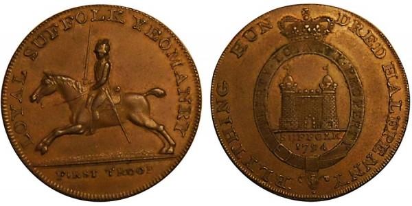SUFFOLK Blything Halfpenny.  1794. DH 19