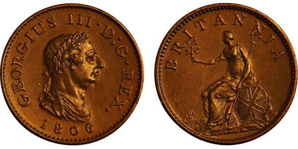 George III, Copper Farthing, 1806.