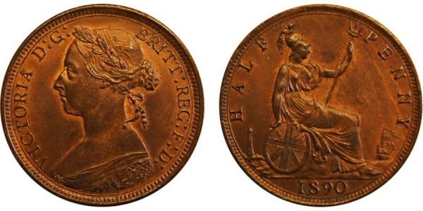 Victoria, Bronze Halfpenny, 1890. F.333