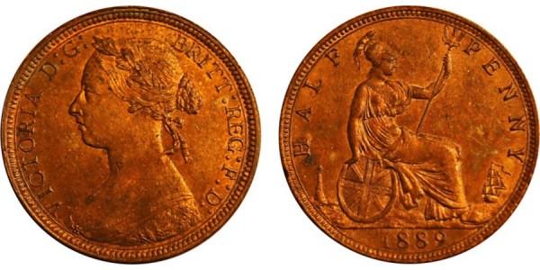 Victoria, Bronze Halfpenny, 1889.