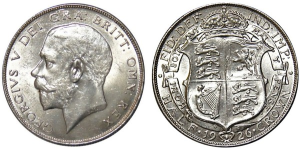 George V, Silver Half-crown, 1926, OE.