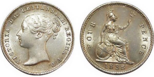 Victoria. Silver Groat. 1838/8
