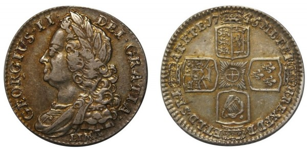 George II, Silver Shilling, 1745.