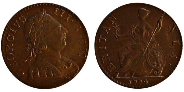 George III, Copper Halfpenny, 1774