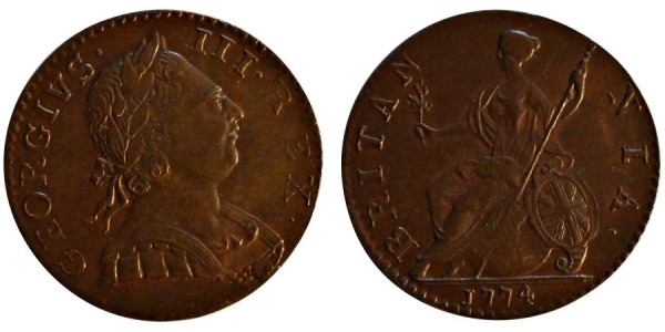 George III, Copper Halfpenny, 1774