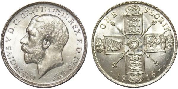 George V. Silver Florin. 1916