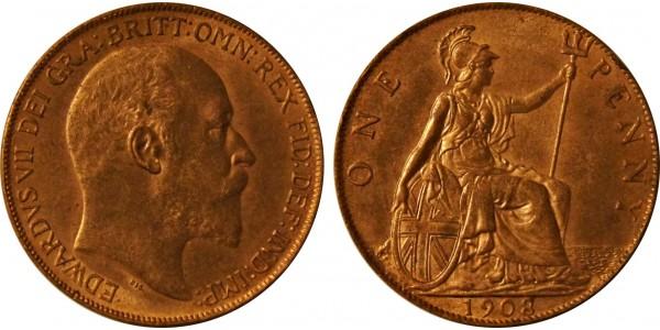 Edward VII, Bronze Penny, 1908.