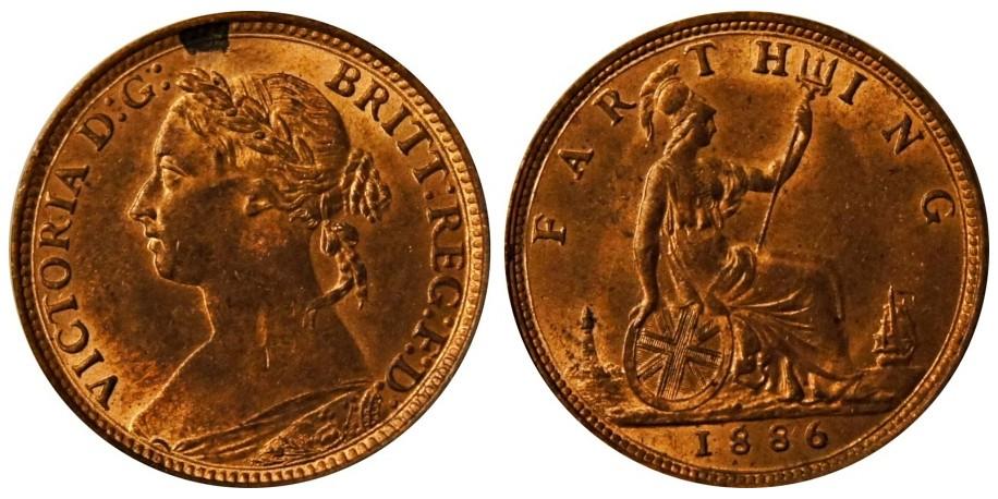 Victoria, Bronze Farthing, 1886.
