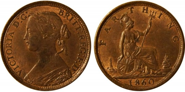 Victoria, Bronze Farthing, 1860