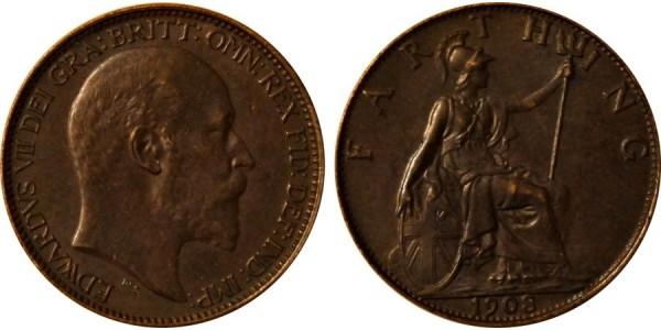 Edward VII, Bronze Farthing. MT. 1908.