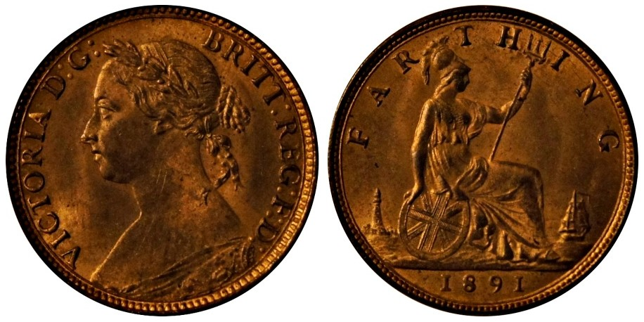 Victoria, Bronze Farthing, 1891.
