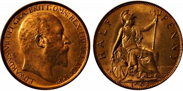 Edward VII, Bronze Halfpenny, 1902.