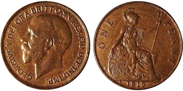 George V, Bronze Penny, 1919 H
