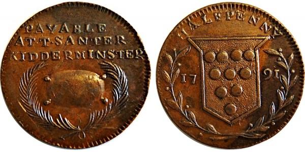 Worcestershire. T. Santer's Halfpenny. 1791.