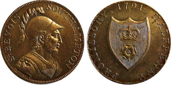 Hampshire. Southampton Halfpence. 1791. DH 89