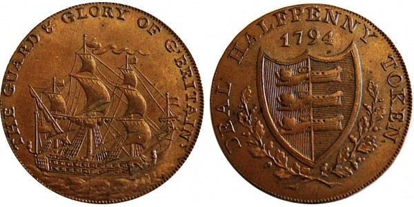 Kent. Deal. R. Long's Library Halfpenny. 1794. DH 11
