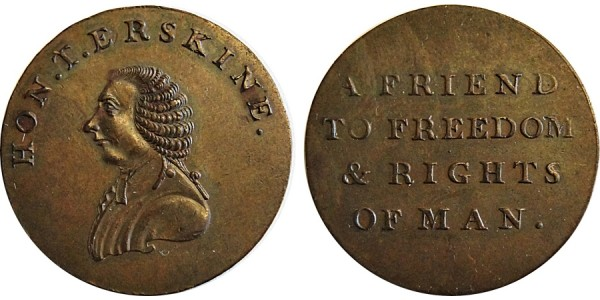 Middlesex. Erskine's Bust Halfpenny. DH 1010